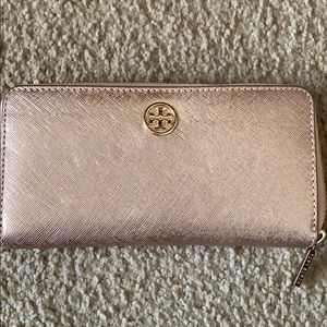 Rose gold Tory Burch wallet
